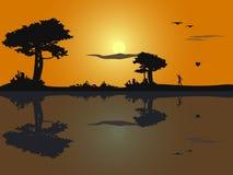 Vector иллюстрация силуэта захода солнца на пляже с tr иллюстрация вектора