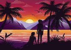 Vector иллюстрация силуэта подруг пар на пляже под пальмой на предпосылке захода солнца и иллюстрация вектора