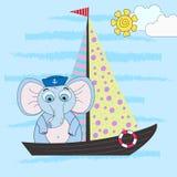 Vector иллюстрация слон-матроса шаржа на корабле Морская иллюстрация иллюстрация вектора