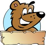Vector иллюстрация счастливого самолюбивого медведя Брайна Стоковые Изображения