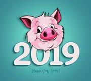 Vector иллюстрация, счастливое дизайн карточки Нового Года 2019 смешной с стоковые фото