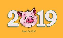 Vector иллюстрация, счастливое дизайн карточки Нового Года 2019 смешной с стоковая фотография rf