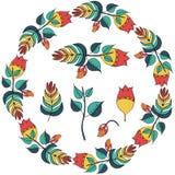 Vector иллюстрация флористической рамки в форме круга стоковое изображение