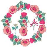 Vector иллюстрация флористической рамки в форме круга стоковое изображение rf