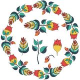 Vector иллюстрация флористической рамки в форме круга стоковые изображения