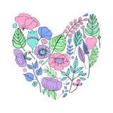 Vector иллюстрация флористической рамки в форме сердца стоковые фото