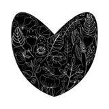 Vector иллюстрация флористической рамки в форме сердца стоковое изображение rf