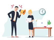 Vector иллюстрация шаржа сердитого босса и устрашенного работника Человек стоя около таблицы иллюстрация штока