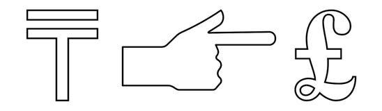 Vector линейный значок с изображением руки при выдвинутый указательный палец показывая обмен тенге в фунт иллюстрация вектора