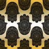 Vector индийской нарисованная рукой картина символа hamsa безшовная Стоковые Фото