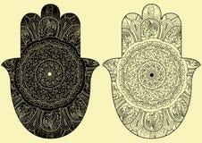 Vector индийской hamsa нарисованное рукой с этническими орнаментами иллюстрация вектора