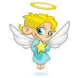 Vector иллюстрация ангела рождества с nimbus и звездой Стоковые Изображения