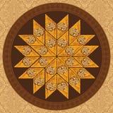 Vector иллюстрация бахлавы на круглой плите с традиционной картиной Стоковая Фотография