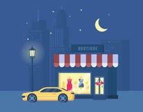 Vector иллюстрация бутика и автомобиля спорт на предпосылке города Стоковые Изображения RF