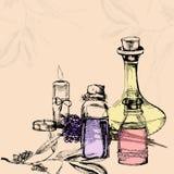 Vector иллюстрация бутылок с эфирным маслом, свечей, lave Стоковая Фотография