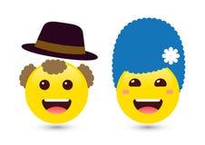 Vector иллюстрация 2 взрослых смайликов желтого цвета smiley на whit Стоковые Изображения RF