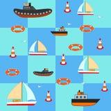 Vector иллюстрация вопросов моря с кораблями, яхтами, кругом, b Стоковая Фотография RF
