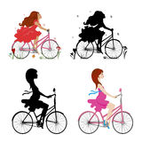 Vector иллюстрация девушки ехать велосипед Стоковые Изображения RF