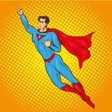 Vector иллюстрация летать вверх по супермену, ретро стиль искусства шипучки Стоковая Фотография RF