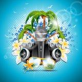 Vector иллюстрация летнего отпуска на теме музыки и партии с дикторами и солнечными очками на голубой предпосылке Стоковое Изображение