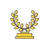 Vector иллюстрация дела золотой медали с значком листьев в плоской линии стиле Стоковая Фотография RF