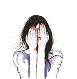 Vector иллюстрация женской девушки зомби с капанием крови от ее рта Стоковые Изображения
