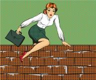 Vector иллюстрация женщины взбираясь над загородкой, стилем искусства шипучки иллюстрация штока