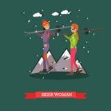 Vector иллюстрация женщин лыжников в плоском дизайне Стоковые Фотографии RF