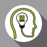 Vector иллюстрация зеленого цвета Think, editable значка Стоковое Изображение
