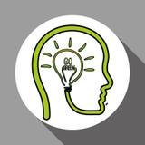 Vector иллюстрация зеленого цвета Think, editable значка Стоковые Фотографии RF