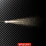 Vector иллюстрация золотого светового луча с ярким блеском, светового луча с искрами Стоковые Изображения RF
