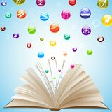 Икона образования приходя из открытой книги Стоковое Изображение