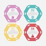 Vector иллюстрация линейного шестиугольника infographics 4 Стоковая Фотография RF