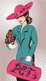 Vector иллюстрация искусства шипучки девушки в шляпе с собакой иллюстрация вектора