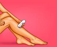Vector иллюстрация искусства шипучки красивых хорошо выхоленных женских ног с электрическим epilator бесплатная иллюстрация