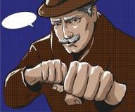 Vector иллюстрация искусства шипучки человека с пробивая кулаками бесплатная иллюстрация