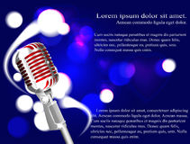 Vector иллюстрация караоке концепции, микрофон, песня, концерт Стоковые Изображения RF