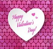 Vector иллюстрация карточки дня валентинки eps 10. сердца бумаги 3d счастливой Стоковое Изображение