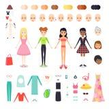 Vector иллюстрация квартиры установленная диаграммы милой девушки Конструктор характера женщины с различным цветом кожи, волос и Стоковое Изображение RF