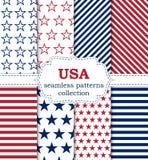 Vector иллюстрация комплекта безшовных картин США Стоковое Изображение RF