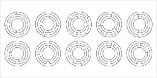 Vector иллюстрация комплекта 10 круговых лабиринтов Стоковые Фото