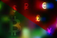 Vector иллюстрация концепции валютной биржи с долларом, иеной, фунтом, рублем, символами евро на разделенном зеленом и красном ba Стоковые Изображения RF