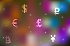 Vector иллюстрация концепции валютной биржи с долларом, иеной, фунтом, рублем, символами евро на праздничной пестрой предпосылке Стоковая Фотография RF