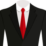 Vector иллюстрация костюма чернокожего человека с красной связью и белой рубашкой Стоковые Изображения