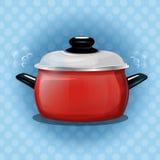 Vector иллюстрация красного бака на голубой предпосылке с белыми точками польки варить инструменты кухни установленные От испарят Стоковая Фотография RF