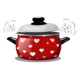 Vector иллюстрация красного бака, пар приходит из его в форме сердец Карточка на день ` s валентинки праздника Стоковое Изображение