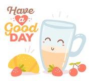 Vector иллюстрация красочного красного, голубого и желтого завтрака Стоковая Фотография