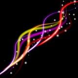 Vector иллюстрация красочной абстрактной предпосылки с запачканными волшебными линиями неонового света изогнутыми иллюстрация штока