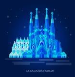 Vector иллюстрация Ла Sagrada Familia - впечатляющего собора конструированного Gaudi на белой предпосылке Стоковые Фото