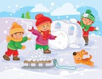 Vector иллюстрация маленьких детей играя outdoors в зиме Стоковые Фотографии RF